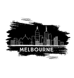 Melbourne Skyline Silhouette Hand Drawn Sketch vector