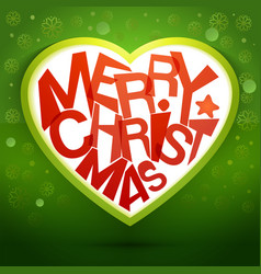 Merry christmas heart message at green backdrop vector