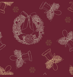 merry cristmast seamless pattern hand draw vector image
