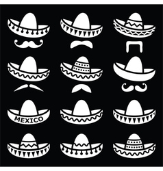 Mexican Sombrero hat with moustache or mustache wh vector