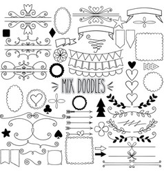 mix doodles vector image