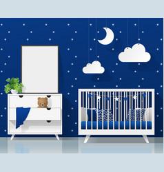 mock up poster frame in modern baby bedroom vector image