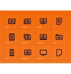 Newspaper icons on orange background vector image