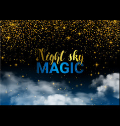 night sky christmas magic stars and cloud vector image