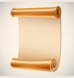 Old golden manuscript ancient empty scroll vector