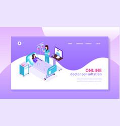 online medicine isometric banner vector image