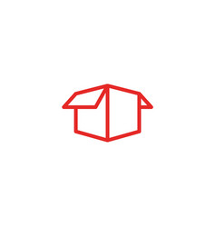 Open opened box unbox unboxing logo icon line art vector