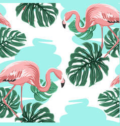 Pink flamingos blue lake monstera leaves pattern vector