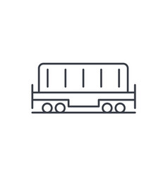 Railway container wagon load thin line icon vector