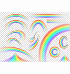 rainbow set isolated on transparent background vector image
