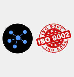 relations icon and scratched iso 9002 stamp vector image