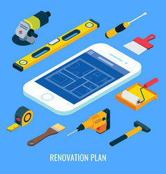 Renovation plan flat isometric vector