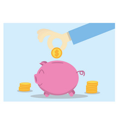 saving money hand putting coin into piggy bank vector image