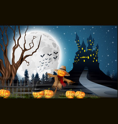 scary castle with scarecrow and pumpkins full moon vector image