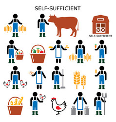 self-sufficient farmer color icons vector image