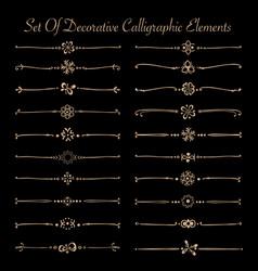 Set golden decorative calligraphic elements vector