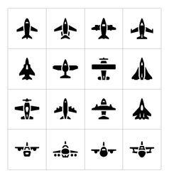 Set icons of planes vector image
