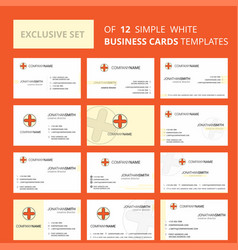 set of 12 medical creative busienss card template vector image
