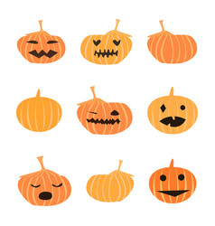 set of halloween cute pumpkins vector image