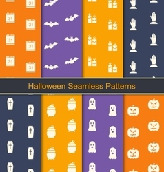 Set Seamless Textures with Halloween Symbols vector image