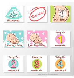 Set stickers with bamilestones first year vector