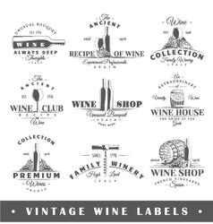 Set vintage wine labels vector