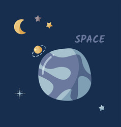 Single planet and starry sky in a open space flat vector