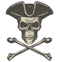 skull in cocked hat and crossbones pirate symbol vector image