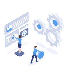 software testing and optimization isometric vector image