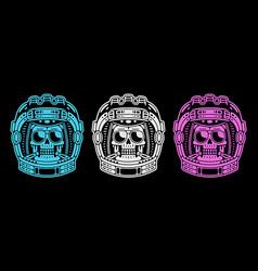 Spaceman skull modern space logo monochrome vector