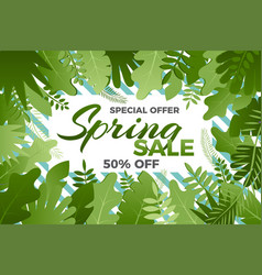 spring sale banner with leafs vector image