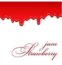 Strawberry flowing jam 3d seamless pattern drip vector