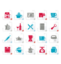 Stylized kitchenware objects and equipment icons vector