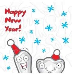 Teeth Happy New Year greeting card vector image