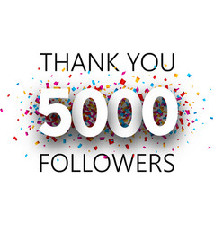 Thank you 5000 followers poster with colorful vector