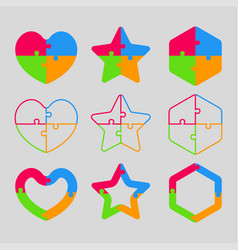 The colorful puzzle shape - heart star hexagon vector