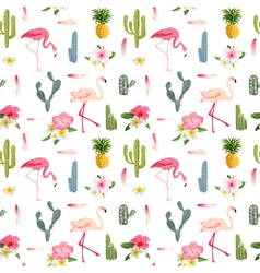 Tropical Background Flamingo Bird Cactus vector image