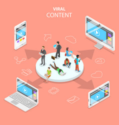 viral content flat isometric concept vector image