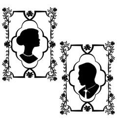 wedding silhouette flourishes 2 vector image