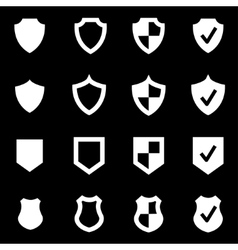 white shield icon set vector image