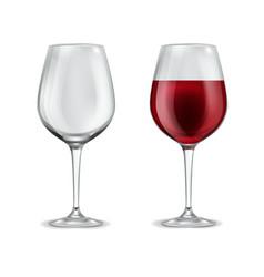 Wine glass realistic 3d empty glassware vector