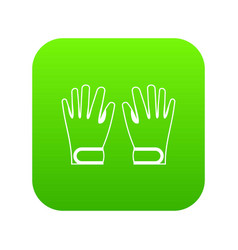 winter gloves icon digital green vector image