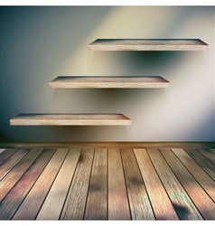 Wooden interior with shelf background EPS 10 vector image