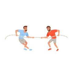 Young men pulling rope bearded guys in sportswear vector