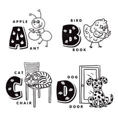 alphabet letter a b c d depicting an ant bird vector image vector image