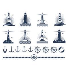 nautical logos and elements set - anchors vector image vector image