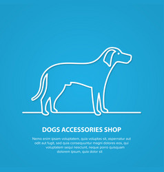 Outline dog silhouette on white background vector