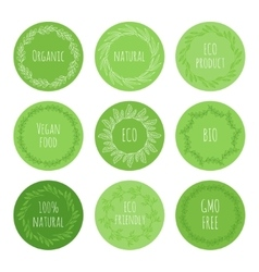Eco green stickers with hand drawn floral elements vector image