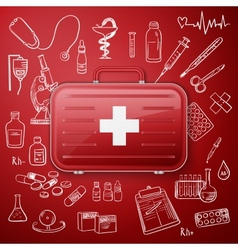 medical chest and hand draw medicine icon vector image vector image