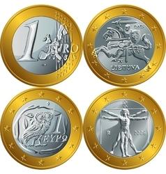 money gold coin one euro vector image vector image